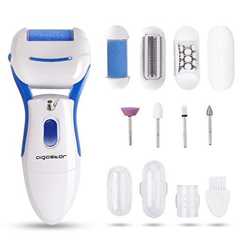 Aigostar Smooth 32JVR - Set de belleza 5 en 1: pedicura, manicura, depilación, afeitado y eliminación de callos y piel muerta. Incluye 7 cabezales, luz LED, potencia 3V, inalámbrica. Diseño exclusivo.