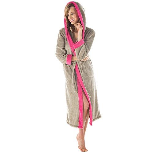 CelinaTex Bademantel mit Kapuze Damen oder Herren Flauschiger Sherpa-Fleece Waden-Langer Saunamantel 5000855 Serie Ohio XL Taupe pink