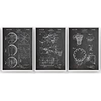 Baloncesto Poster de Patente - Pack de 3 Láminas - Patent Póster Con Diseños Patentes Decoracion de Hogar Inventos Carteles Prints Wall Art Posters Regalos Decor Blueprint - Marco No Incluido