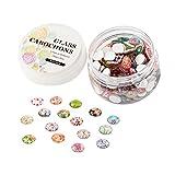 nbeads 1 Box mit 200 Stück gemischten 12 mm Blumen Glas rund Cabochons Flatback Dome Cameo für Schmuckherstellung