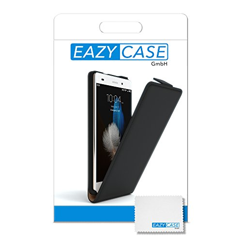 Huawei P8 Lite (2015) Hülle - EAZY CASE Premium Flip Case Handyhülle - Schutzhülle in Braun Schwarz (Flip)