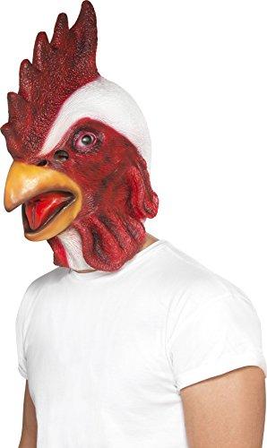 Smiffys, Unisex Hähnchen Gesichtsmaske, Ganzer Kopf, Latex, One Size, Weiß und Rot, 44596