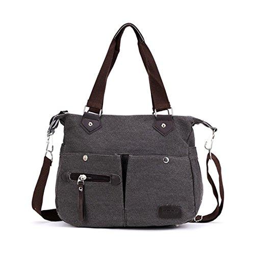 mixinni® Moderne Segeltuchschulter Tasche Damentaschen Handtasche Gewaschen Schwarz