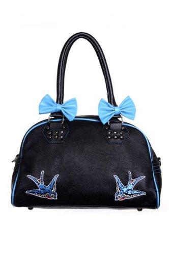 Banned - Rockabilly Damen Tasche Schwalben Swallows (Schwarz) (Gestreiften Kleid London Shirt)
