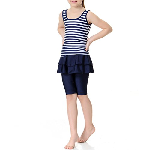 Zhuhaitf Kids Girls Muslims Burkini 2-Pieces Swimsuit Ruffle Hem Stripe Swimwear Swimming Costumes