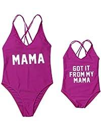 5f25491babc4f Mutter Tochter Badeanzug Mommy & Me V-Ausschnitt Brief Drucken Einteiler  Bademode Monokini
