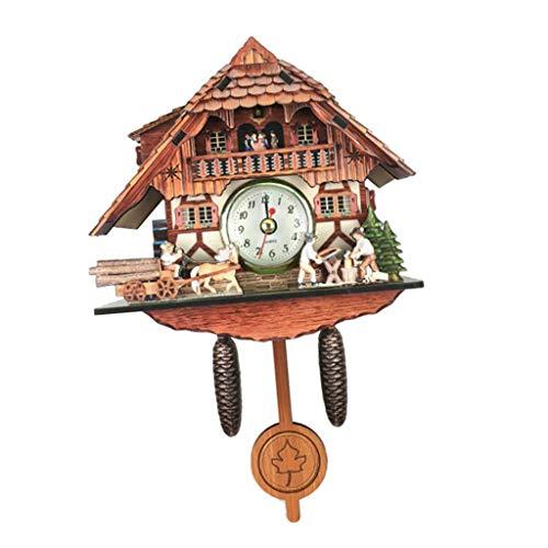 non-brand MagiDeal Holz Kuckucksuhr Kuckuck Uhr Schwarzwald Wanduhr Ornament für Wohnzimmer Kinderzimmer - G