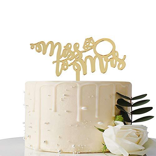 MaiCaiffe Spiegel Gold Miss zu Frau Kuchen Topper Uns/Hochzeit/Bridal Dusche/Verlobungsring Dekorationen Supplies (Cake Dusche Bridal Topper)