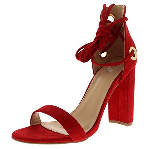 Viva Mujer Bloquear Tacón Alto Ante Atar de Encaje Ante Sandalias Zapatos - Rojo KL0315C 6UK/39