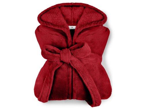 extra weicher Kapuzen-Bademantel aus Kuschelfleece - erhältlich in 7 modernen Farben und 5 Größen - unisex & wadenlang, S, bordeaux