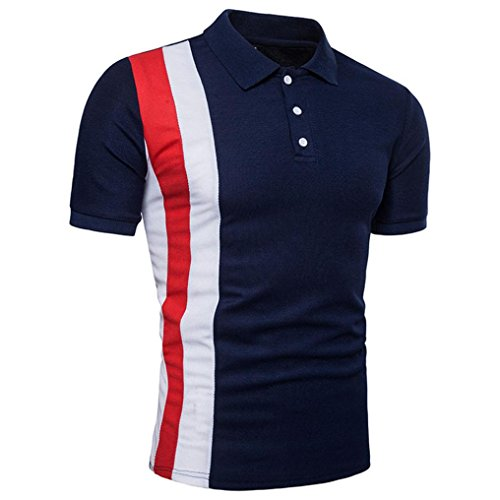 ASHOP Herren Poloshirt, Casual Slim Patchwork Short Sleeve T Shirt Top Blouse (XXL, Marine)
