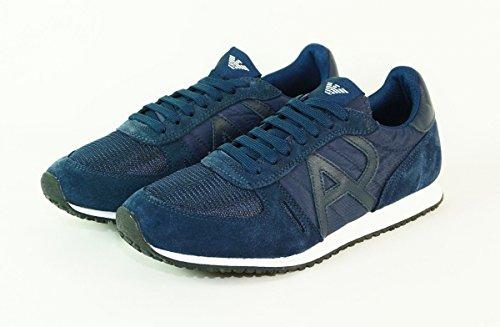 AJ Armani Jeans 6A420 Sneakers Uomo Scamosciato Blu Blu 43