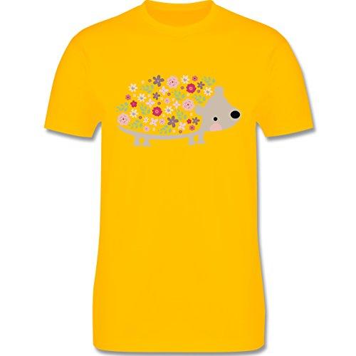 Ostern - Süßer Igel - Frühlingstiere mit Blumen - Herren Premium T-Shirt Gelb
