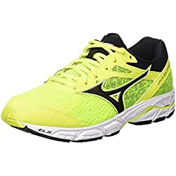 Mizuno Wave Equate 2, Zapatillas de Running para Hombre, Amarillo (Safetyyellow/Black/Fierycoral 10), 44 EU