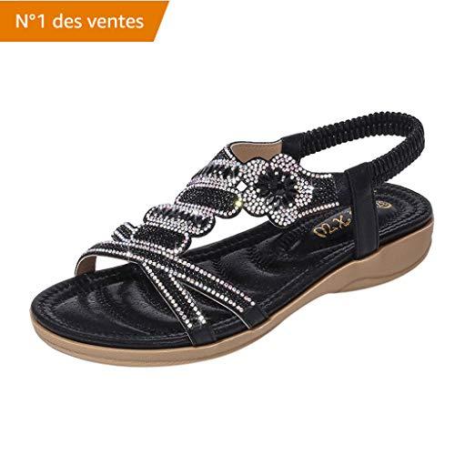 Yesmile BohêMe Sandales Femmes Plates,D'éTé Femmes Cristal Plat Sandales De Plage Peep Toe Casual Chaussures