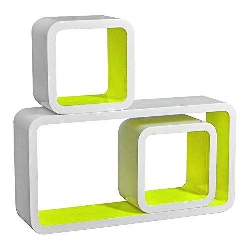 EUGAD 3er Set Lounge Cube Regal, Retro Wandregal Bücherregal, MDF Holz, Weiß-Stoll GrünRG9229hgn