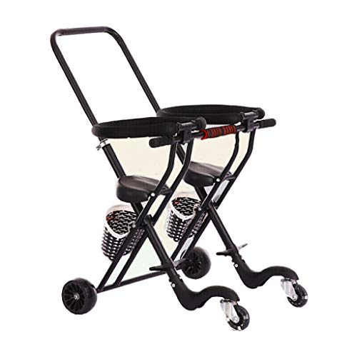 olley 1-3-6 Jahre altes Baby-Artefakt-Baby-Doppelt-Leichtgewichtler faltender Trolley-Doppelsitz MY46 schwarzes breites Rad (Farbe : SCHWARZ) ()