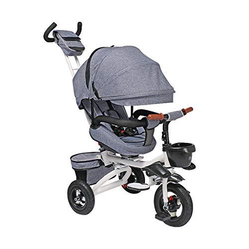 GYF Bicicleta Bebe,Triciclos para Niños Kinderkraft Triciclo Bicicleta Bebe 1 Año para Niños con Capota Extraíble Y Plegable Azul Púrpura Gris Beige (Color : Gray)