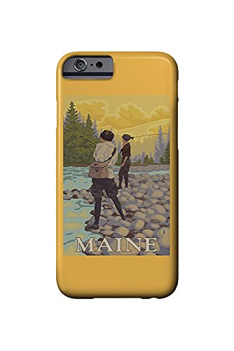 Maine - Women Fly Fishing Scene (iPhone 6 Cell Phone Case, Slim Barely There)