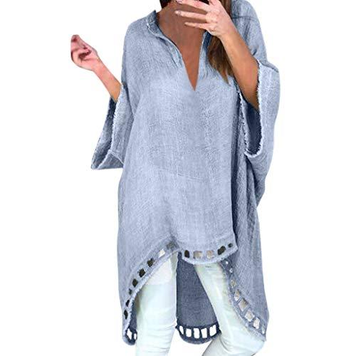 LEXUPE Damenmode Damen Casual Style V-Ausschnitt Leinen Soild Loose Shirt Blusen(Blau,X-Large) (Damen X-large-baby-puppe Shirt)