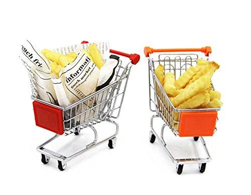 Mannily 2French Fry Halter Metall Mini Warenkorb Korb Halterung für Pommes Frites Fish/Chips/Vorspeisen (rot und orange) (Chip Korb)