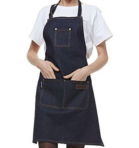 Delantal del dril de algodn,ANGTUO Delantales sin mangas gruesos de la personalidad Delantal del cocinero del servicio del caf de los uniformes de la moda