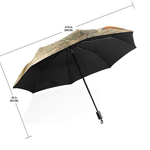 XiangHeFu Regenschirm, rot-gelbe Blätter über Holz, automatisches Öffnen, 3 Falten, leicht, UV-Schutz - Gelbe Sand-holz Ständer