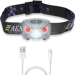 USB Rechargeable Lampe Frontale LED CREE, très lumineuse, légère et confortable, facile d'utilisation, parfaite pour la course, la marche, le camping, la lecture, la randonnée, les enfants, le bricolage et bien plus encore