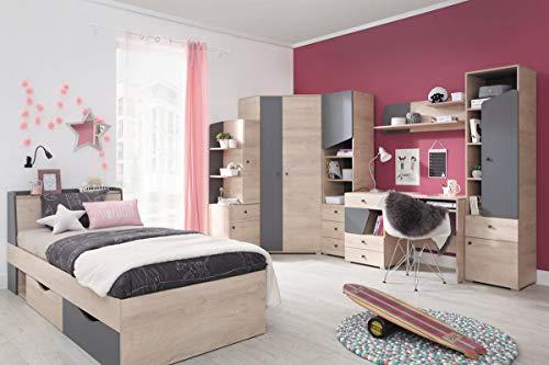 QMM Traum Moebel Jugendzimmer Kinderzimmer komplett Davis Set B Eckschrank Schreibtisch Bett 120x200 Regale - Komplettes Bett Set