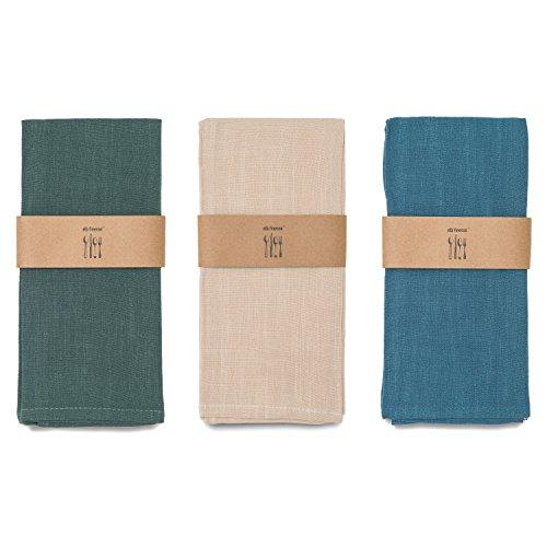elb finesse ® 3er-Set Geschirrtücher / Trockentuch / Baumwolltuch / Küchentücher blau / grün / beige aus 100% Baumwolle / Modern