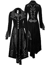 Femme Halloween Medieval Gothique Victorien Costume Steampunk Manteau  Vintage Queue de morue Imprression Fleurs fe21da663d8