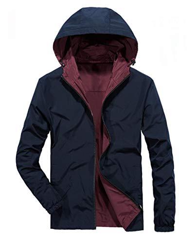 Herren Wasserdichte Jacken, Schnell Trocknende Oberteile, Winddicht, Beidseitige Bekleidung, Kapuzenjacke (Farbe : Blau, größe : S)
