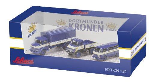 Preisvergleich Produktbild Schuco  452574700 - Set Dortmunder Kronen mit 3 Modellen: MB L311 Pritsche-Plane, Unimog U406, VW T2a Bus, 1:87