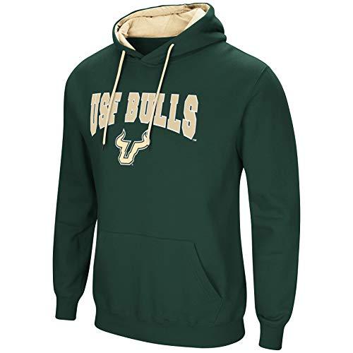 Colosseum NCAA Herren Cold Streak Dual Blend-Fleece Kapuzenpullover Sweatshirt mit Tackle Twill Bestickt Teamname und Logo-Team Farben, Herren, South Florida Bulls-Green, X-Large Bulls Logo Hoody