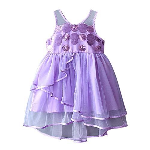 Livoral Mädchen ärmellose Pailletten Tüll Kleid Kleinkind Kinder Baby Kleidung Party Prinzessin Kleid(Lila,120)