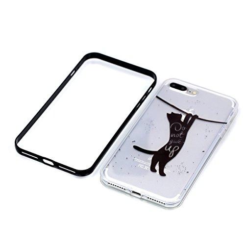 iPhone 8 plus 2-in-1 (Tpu silicone Custodia e PC Frame)Transparente Cover, iphone 7 plus Cover Puro, Ekakashop Moda Disegni Vintage Elegante Colorate Ultra Slim Sottile Morbida Soft TPU Silicone Clear Gatto