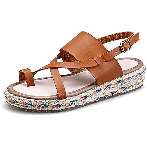 Zapatillas de Moda Sandalias alpargatas abierto de plataforma Tobillo mujer