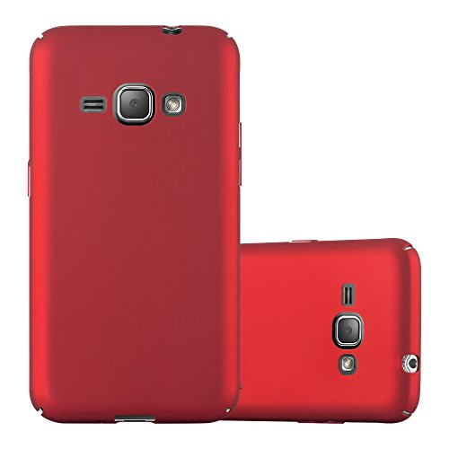 Cadorabo Hülle für Samsung Galaxy J1 2016 (6) - Hülle in Metall ROT - Hardcase Handyhülle im Matt Metal Design - Schutzhülle Bumper Back Case Cover Samsung-metal-handy