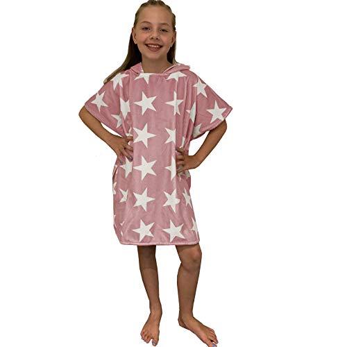 HOMELEVEL Kinder Baby Poncho Badeponcho Handtuch Cape Baumwollmischung Velours Frottee Badetuch mit Kapuze (4-7 Jahre, Altrose Sterne)