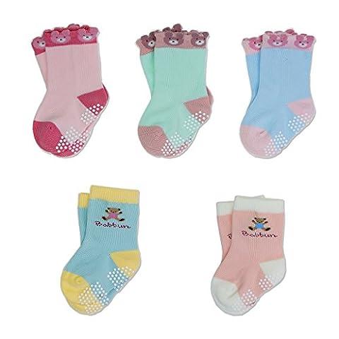 Baby Toddler Kids Antiskid Socks Non Anti Slip 5 Pairs Cotton Sock for Girls Boys Cartoon Bear 2-4 Year