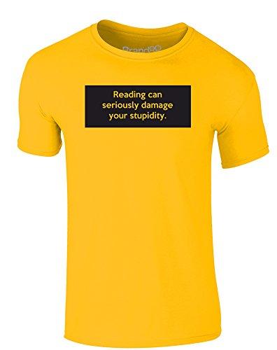 Brand88 - Reading Can Seriously Damage Your Stupidity, Erwachsene Gedrucktes T-Shirt Gänseblümchen-Gelb/Schwarz