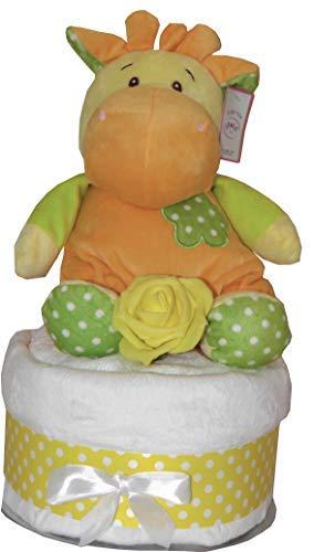 Unisexe Gâteau de Couches Bébé Peluche Girafe Hochet Jouet Comprend Blanc Doux Star Couverture Rose Lavage Lingette Fête de Naissance Bébé Naissance Maternité Cadeau
