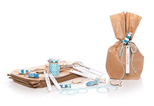 20 Stück braune Papier-Tüten (14 x 5,6 x 22 cm) Geschenktüten Kommunion Taufe Mitgebsel mit Fisch Mini-Klammer Zierklammer in blau türkis, Geschenkband türkis + Holz DANKE Geschenkanhänger (Angeln Danke)