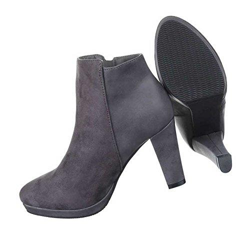 Damen Boots Stiefeletten Schuhe Leicht Gefütterte Schwarz Grau Braun Rot 36 37 38 39 40 41 Grau
