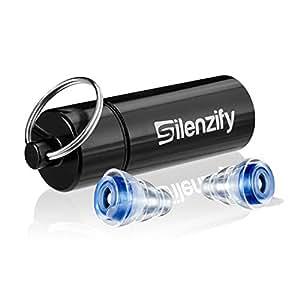 Silenzify MusicProtect Pro Gehörschutz Ohrstöpsel mit Alubehälter für unterwegs. Speziell geeignet für Musik, Konzerte, Festivals und Clubs, clear/transparent (clear/transparent)