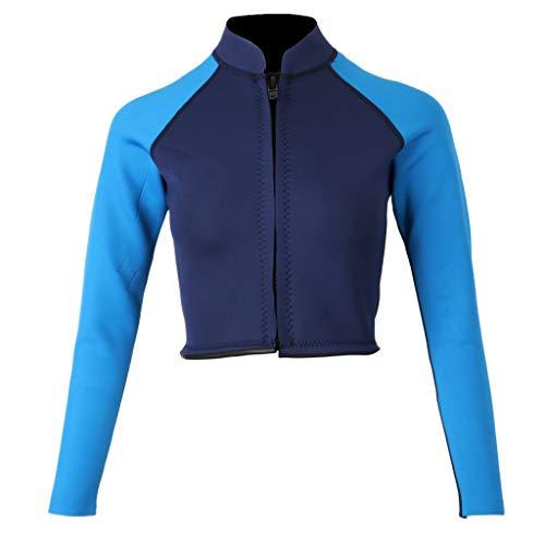 D DOLITY Damen Neopren Schwimmanzug Langarm Jacke Wetsuit mit Vornem Reißverschluss Neoprenanzug UV-Schutz Badeanzug zum Surfen Schwimmen Tauchen Schnorcheln - Dunkelblau XL