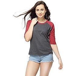 Campus Sutra Women's Cotton T-Shirt (SS16MEL_RGQS_W_PLN_MACH_M_Maroon)