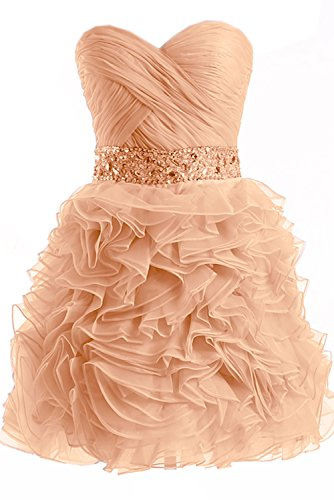 Gorgeous Bride Fashion Traegerlos A-Linie Mini Organza Abendkleid Cocktailkleid Partykleid Orange