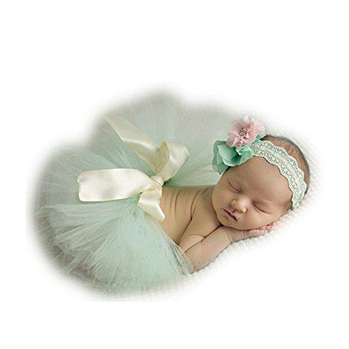 Fashion Unisex Newborn Girl Baby Outfits Photography Props Headdress Tutu Skirt (Light Green)