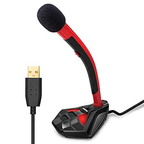 ANCEL Desktop Goldener USB-Mikrofonständer mit Zwei Pop-Filter Build-in HD Mikrofon LED Lichter für Computer Laptop PC Gaming Skype Audio Recording Videospiele und